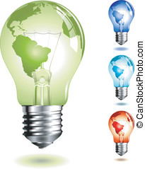 Lightbulb - vector-lightbulb with world-map, four different...