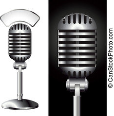 Retro studio microphone - vector retro studio microphone...