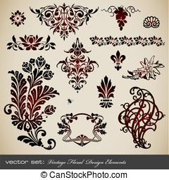 Vintage floral design elements - vector set: vintage floral...