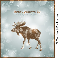 Moose - bright winterchristmas background or card with moose...