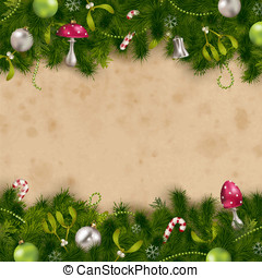 Fir tree border - fir tree border with ornaments on a...