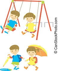 Playing kids - playing kids,  rainy day, vector