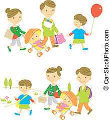 Family, shopping, picnic, vector