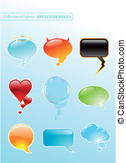 Glossy speech-bubbles - collection of 9 glossy...