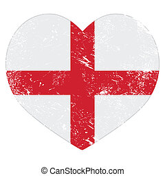 England heart retro flag - English vintage heart shaped flag...