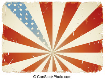 American flag - retro/grunge-styled american flag background...
