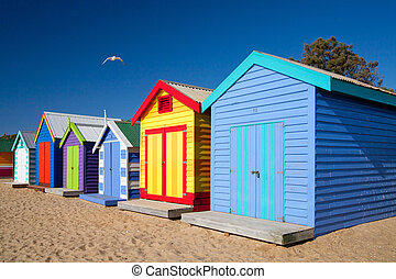Brighton Beach Bathing Boxes - Melbourne, Victoria,...