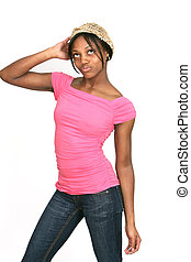 girl in pink posing series - African American girl in a pink...