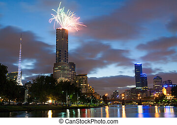 Melbourne Skyline at on Australia Day - Eureka Tower...