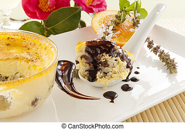 Baked Rice Custard - Spoonful of fresh baked rice custard...