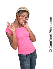 girl in pink waving - sexy African American female waving...