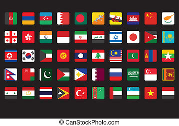 set of Asian flags icons