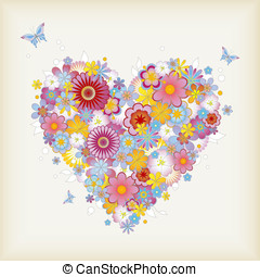 Floral heart - floral heart with butterflies - perfect for...