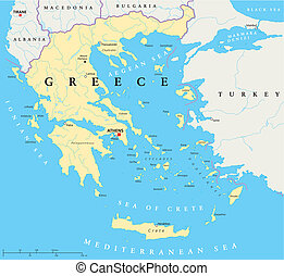 Greece Political Map - Hand drawn map of Greece with the...