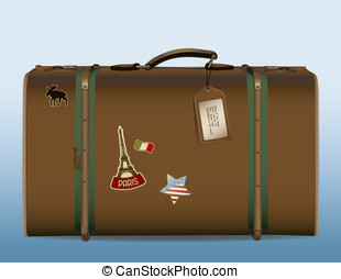 Vintage suitcase - around the world - realistic illustration...