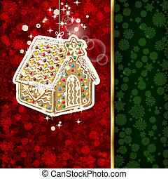 Background with Christmas decoration and snowflakes,...