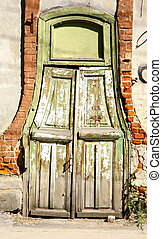 Old wooden door in the centre of Nizhny Novgorod Russia