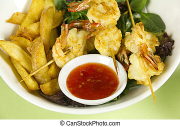 Prawn Skewers - Yummy fried shrimp skewers with chunky chips...