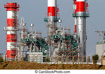 New refinery and powerplant - Part of a big oil refinery and...