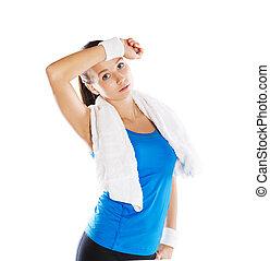 Fitness portrait - Studio fitness portrait isolated on white...