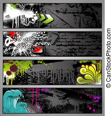 Graffiti banners - set of four colorful graffiti-style urban...