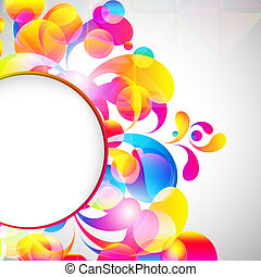 Card background. Abstract bright color drops and clean place...