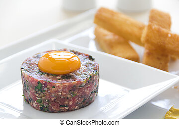 Steak Tartare - Delicious steak tartare with raw egg and...