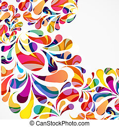 Rounded colorful arc drops. Decorative abstract background.