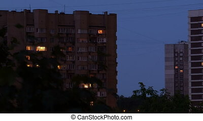 Buildings at night 1 - Buildings at night Time lapse with...
