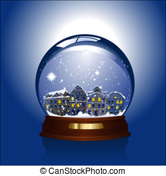 Snow globe with town inside - snowglobe with town inside -...