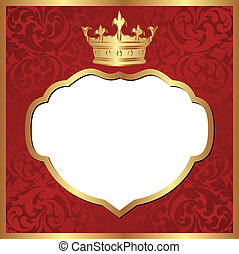 red background with crown - transparent space insert for...