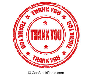 Thank you-stamp - Grunge rubber stamp with text Thank you...