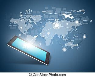 modernos, comunicação, tecnologia