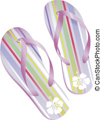 Striped flipflops - pair of striped flip-flops