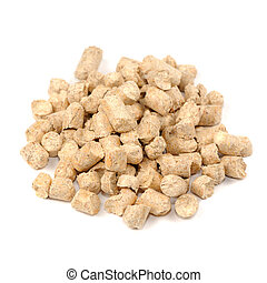 Wood Pellet (Pine) Cat Litter Isolated on White Background -...