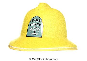 Fire chief firemans helmet studio cutout