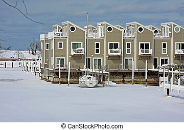 Frozen harbor in the Midwest