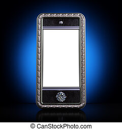 Exclusive mobile phone with blank screen Iphone-style device...