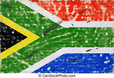Grungy Flag Of South Africa Splattered With Dirt
