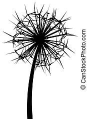 Dandelion from the wind generators (black and white version)