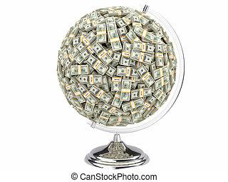 100 dollars globe on white isolated