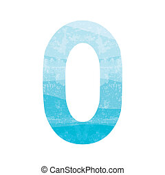 Blue number zero for design and decoration
