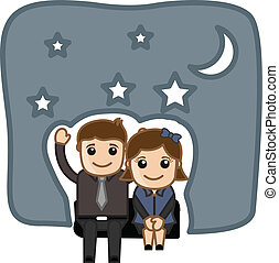 Happy Cartoon Couple in Night - Conceptual Drawing of Happy...
