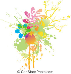 Rainbow-colored floral spring splat - rainbow-colored floral...