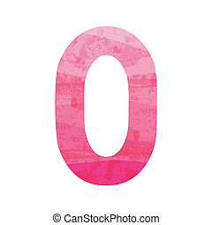 Pink number zero for design and decoration