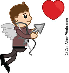 Cartoon Office Man Cupid Character