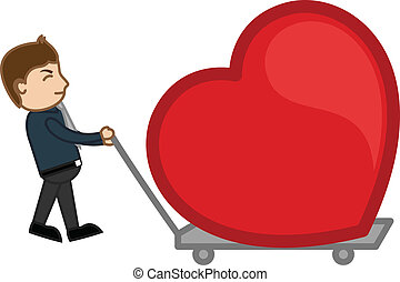 Dragging a Heart in a Trolley - Conceptual Drawing Art of...