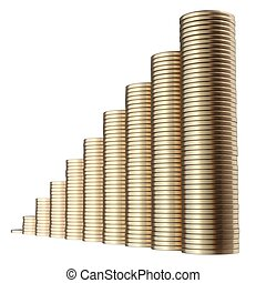 revenue growth in the form of piles of golden coins