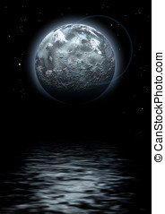 Strange world - lunar composition with water-reflexion
