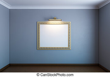 grey gallery room with classic blank frame on wall